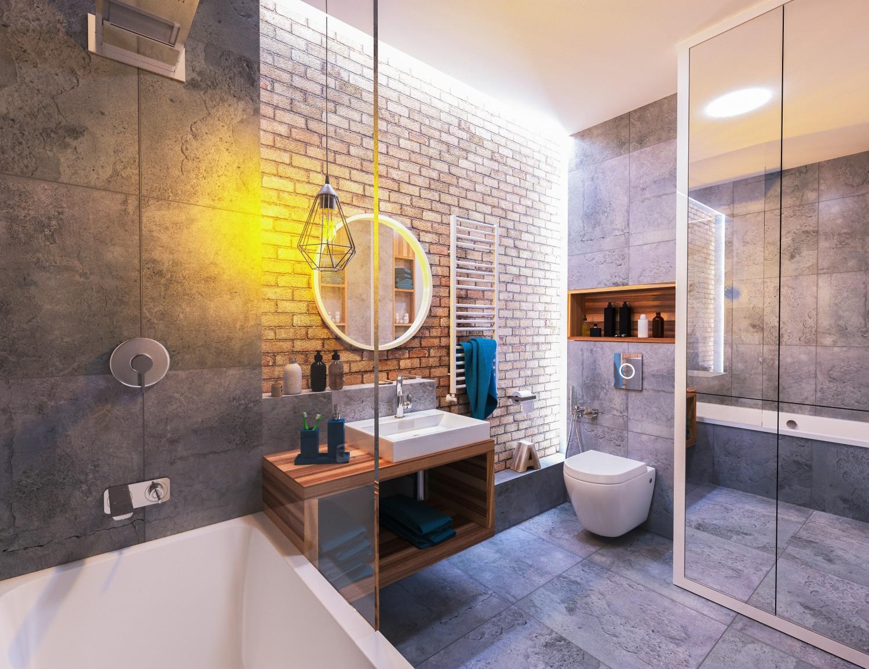 Clean bathroom with mood lighting