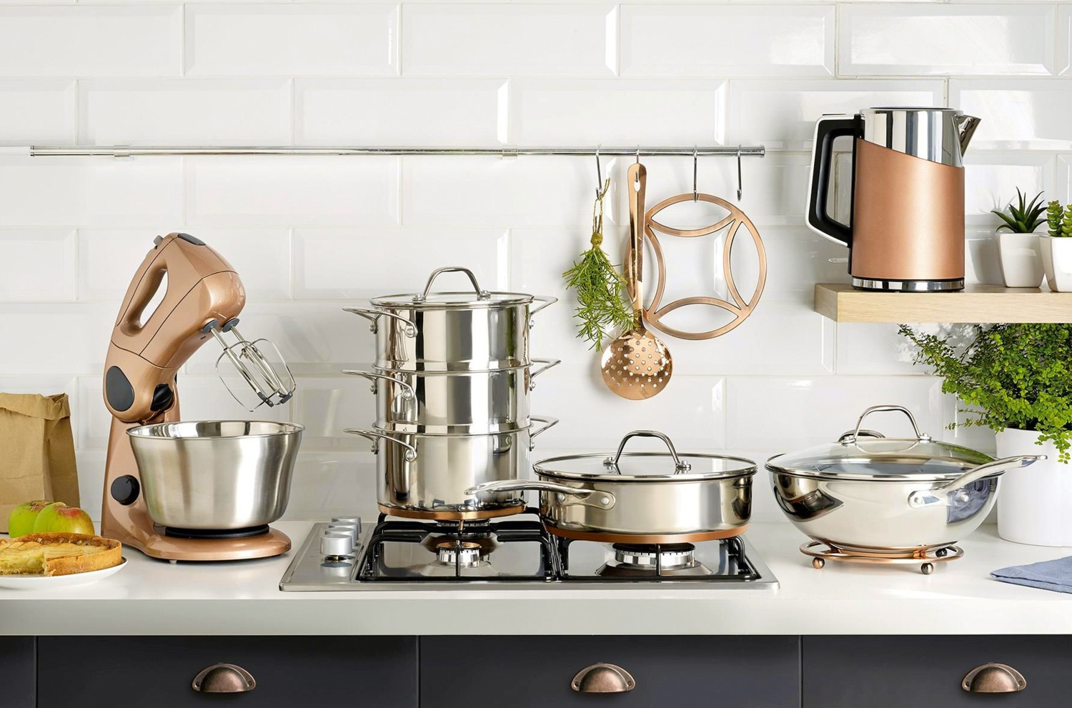 Clean copper and black kitchen